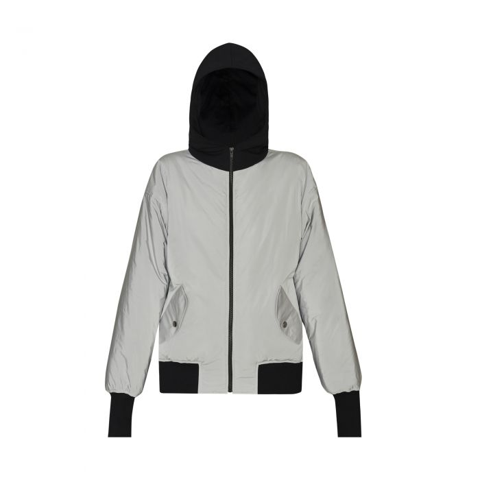 HOODED BOMBER SILVER