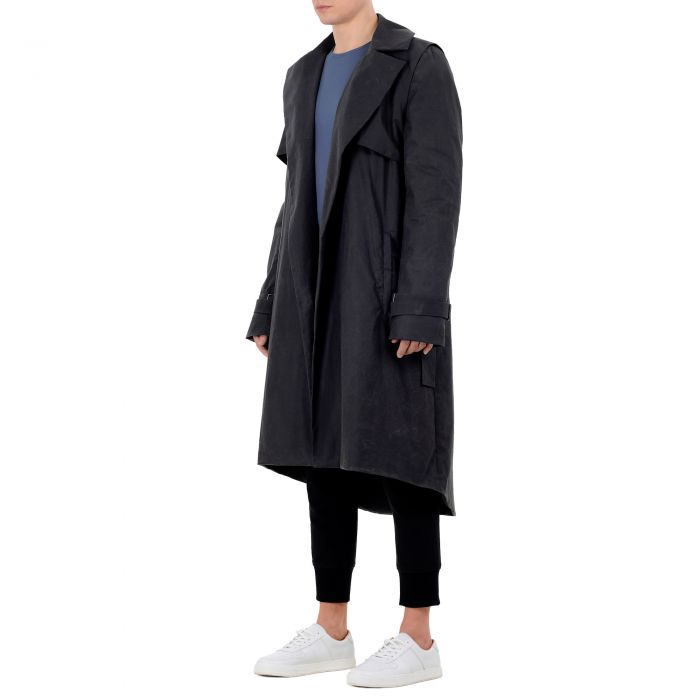 WAXED LONG COAT ANTHRACITE