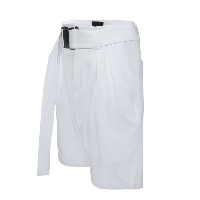 GUSSET SHORTS WITH BELT WHITE