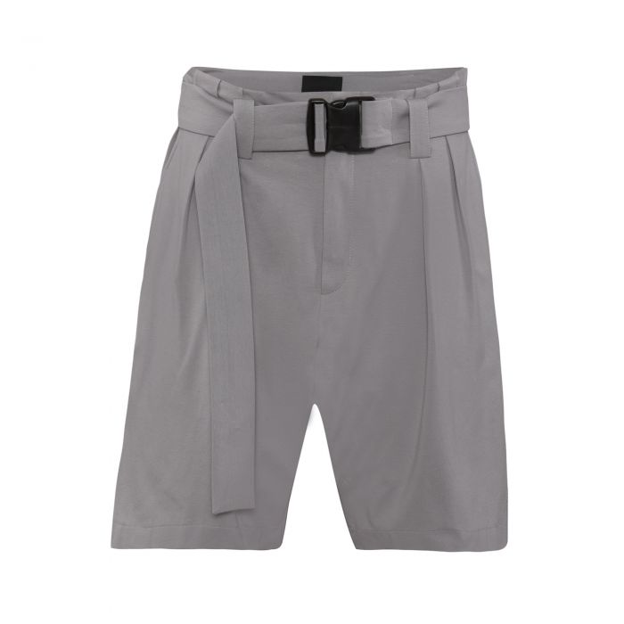 GUSSET SHORTS WITH BELT GREY