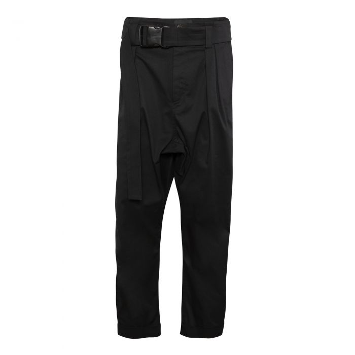 GUSSET TROUSERS WITH BELT BLACK