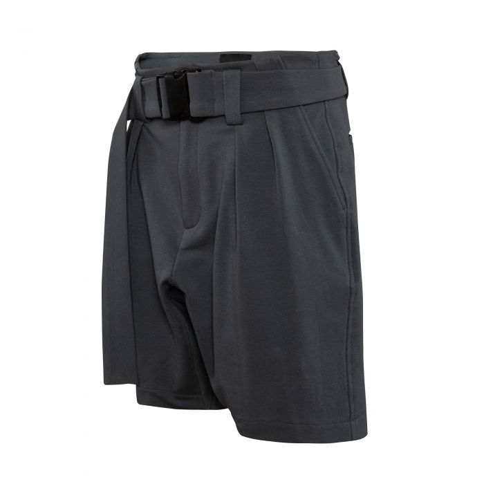 GUSSET SHORTS WITH BELT DARK GREY